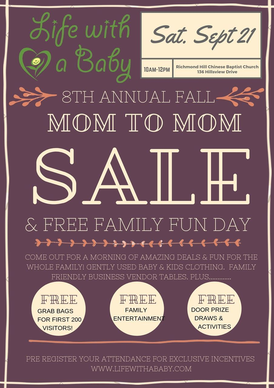b40650fd0c4b1 JOIN US for our semi-annual, popular, massive Mom to Mom Sale & FREE Family  Fun Day!
